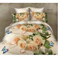 Полуторное постельное белье София 3D (микросатин) - Роза бабочка и жемчуг