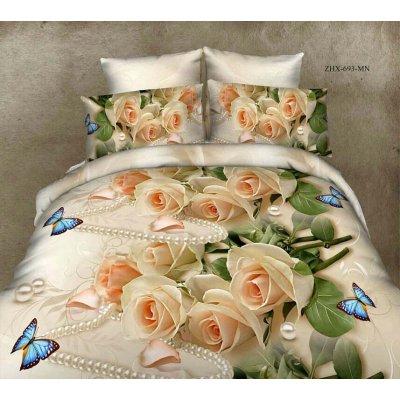 Семейное постельное белье Бязь Gold - Роза бабочка жемчуг