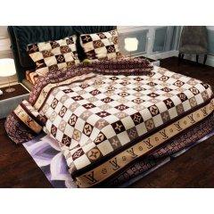Двуспальное постельное белье Бязь Gold - Луи Витон кофе
