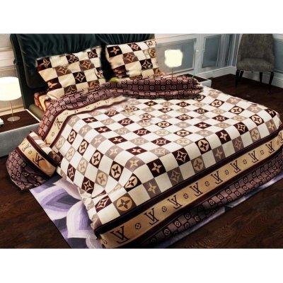 Полуторное постельное белье Бязь Gold - Луи Витон кофе