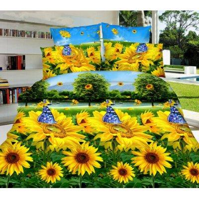 Семейное постельное белье София 3D (микросатин) - Подсолнечный рай