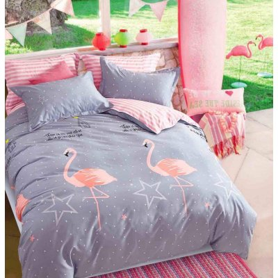 Евро постельное белье Бязь Gold - Танец Фламинго