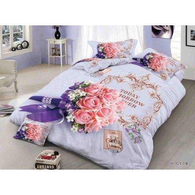 Двуспальное постельное белье Бязь Сатин 5D - Бегония