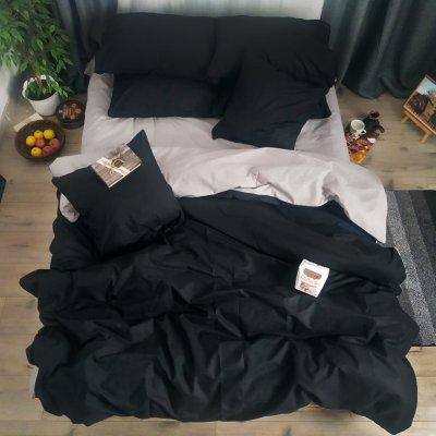 Постельное белье Бязь Премиум - Серый с черным
