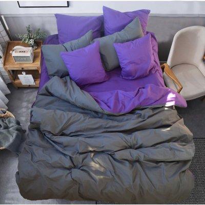 Постельное белье Бязь Премиум - Серый с фиолетовым