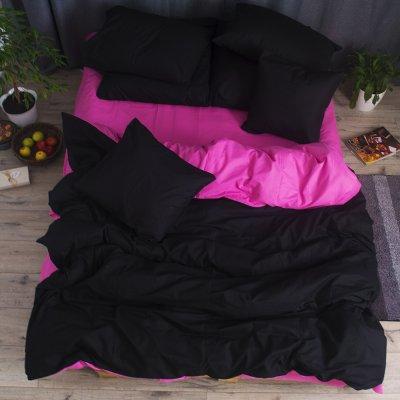 Постельное белье Бязь Премиум - Черный с розовым