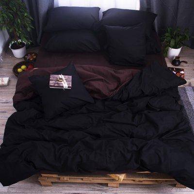 Постельное белье Бязь Премиум - Черный с коричневым