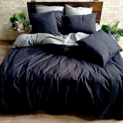 Постельное белье Бязь Премиум - Черный с темно-серым