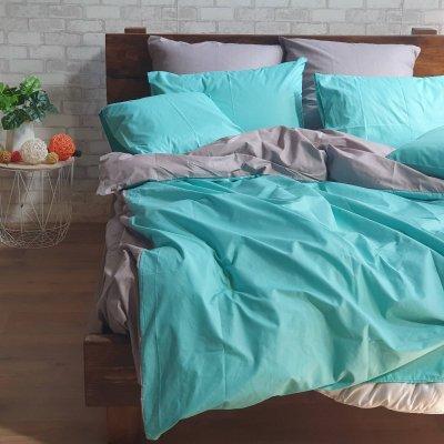 Постельное белье Бязь Премиум - Бирюзовый с серым
