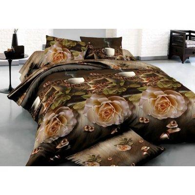Двуспальное постельное белье Бязь Ranforse (100% хлопок) - Кофейная роза