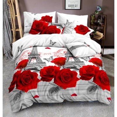 Двуспальное постельное белье Бязь Ranforse (100% хлопок) - Парижские розы