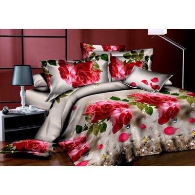 Двуспальное постельное белье Бязь Ranforse (100% хлопок) - Снежная роза