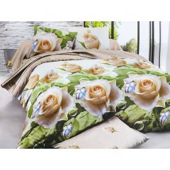 Полуторное постельное белье Бязь Ranforse (100% хлопок) - Белые розы и бабочки