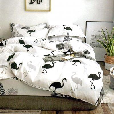 Семейное постельное белье Бязь Ranforse (100% хлопок) - Оазис фламинго