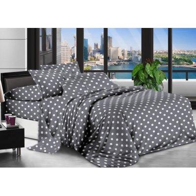 Двуспальное постельное белье Бязь Ranforse (100% хлопок) - Горошек серый