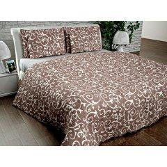Двуспальное постельное белье Бязь Gold - Вензель штрих на кофейном фоне