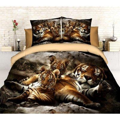 Полуторное постельное белье София 3D (микросатин) - Спящий хищник