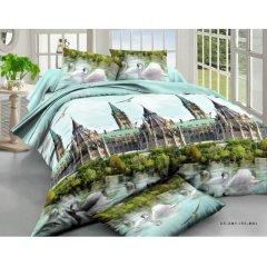 Двуспальное постельное белье София 3D (микросатин) - Лебеди и замок