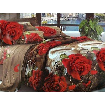 Постельное белье София 3D - Розы и кофе
