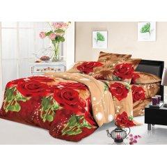 Полуторное постельное белье София 3D (микросатин) - Песочная роза