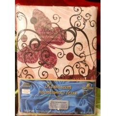 Молдавское полуторное постельное белье Бязь Tirotex - Бабочки (кофе)