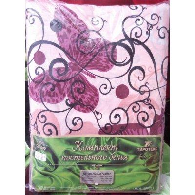 Молдавское евро-макси постельное белье Бязь Tirotex - Бабочки (розовая)