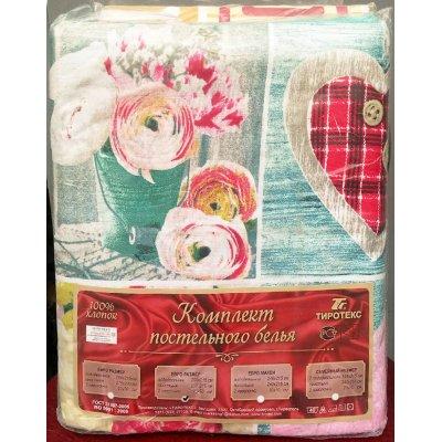Молдавское полуторное постельное белье Бязь Tirotex - Тайская роза