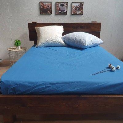 Простыня на резинке из Бязи Голд (синий)