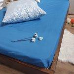 Простыня на резинке из Бязи Голд - Цвет синий - 90х200 см