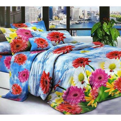 Двуспальное постельное белье София 3D (микросатин) - Радуга из цветов