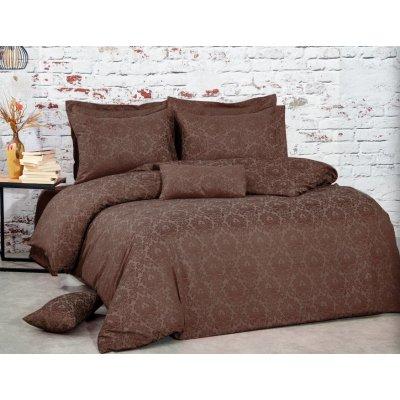 Турецкое постельное белье Жаккард-Сатин Luxury class (100% хлопок) - Коричневый