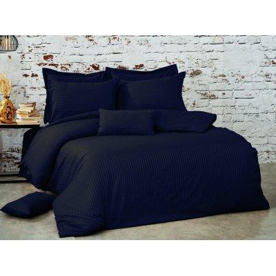 Турецкое постельное белье Страйп Сатин Luxury class (100% хлопок евро) - Темно-синий