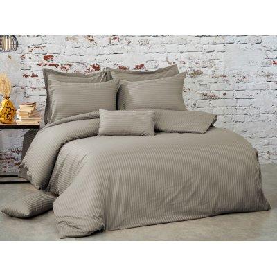 Турецкое постельное белье Страйп Сатин Luxury class (100% хлопок евро) - Серый