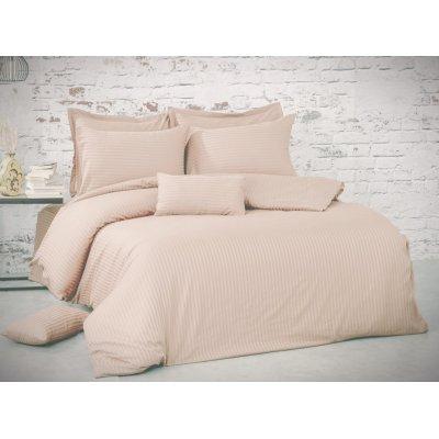 Турецкое постельное белье Страйп Сатин Luxury class (100% хлопок евро) - Нежно-розовый