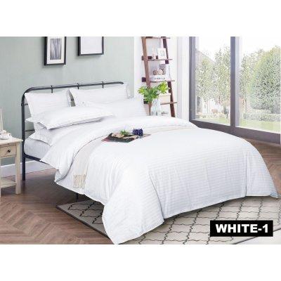 Семейное постельное белье Страйп Сатин Премиум (100% хлопок) - Snowy