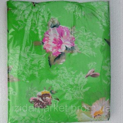 Цветочки на зеленом дешевое постельное белье Полуторный