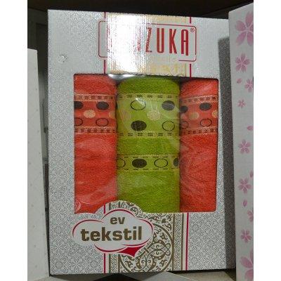 Набор из 3-х махровых полотенец в подарочной коробке - Турция