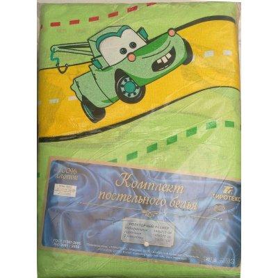 Детское постельное белье Бязь Гладь Тиротекс - The CARS (green)