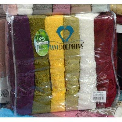 Набор банных бамбуковых полотенец 6 шт. разные цвета - Турция