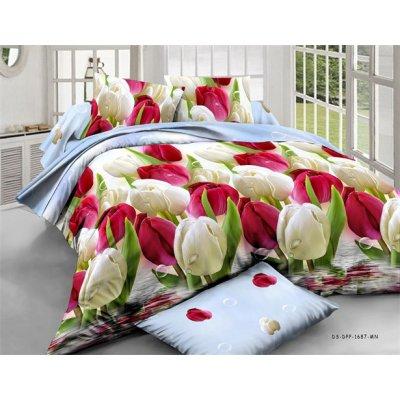 Двухспальное постельное белье Бязь Голд - Тюльпаны
