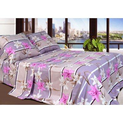 Полуторное постельное белье Бязь Голд - Лилии коралловые