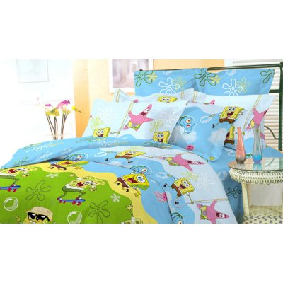 Детское полуторное постельное белье Губка Боб (Ранфорса)