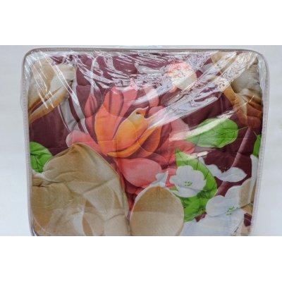 Шерстяное двухспальное одеяло - ткань полиэстр темные цветы