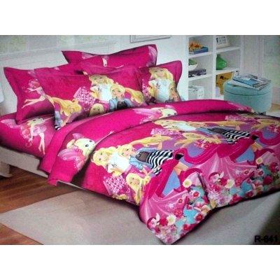 Детское полуторное постельное белье Барби на розовом