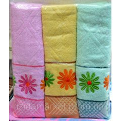 Махровое полотенце для лица - ромашки