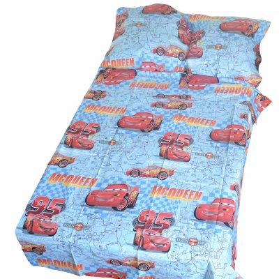 Тачки  на голубом фоне - Детское полуторное постельное белье