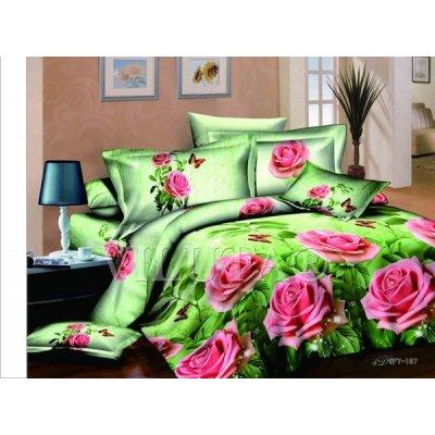 Семейное постельное белье - Розы на зеленом фоне  - Сатин Люкс коллекция 2014