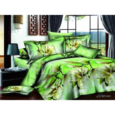 Семейное постельное белье - Цветы на зеленом фоне  - Сатин Люкс коллекция 2014
