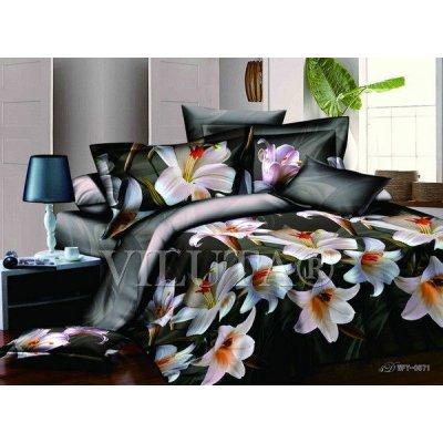 Семейное постельное белье - Лилии на чорном фоне  - Сатин Люкс коллекция 2014
