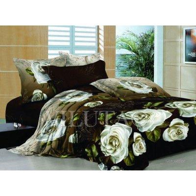 Семейное постельное белье - Белые розы - Сатин Люкс коллекция 2014